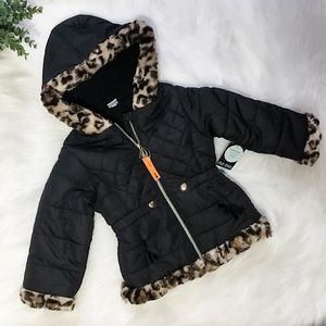 Girls Black Leopard Puffer Jacket